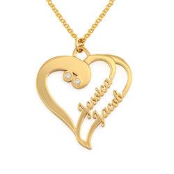 Två hjärtan förevigt halsband med diamant i guldpläterat produktbilder