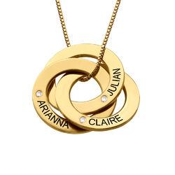 Ryskt ringhalsband med gravering och diamanter i guld vermeil produktbilder