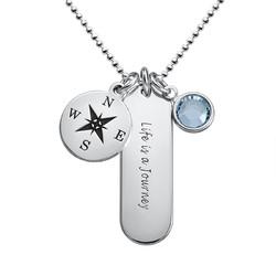 Kompass halsband med månadssten produktbilder