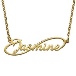 Infinity stil namnhalsband med guldplätering produktbilder