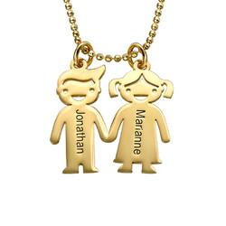Guldpläterat barn som håller hand - halsband produktbilder