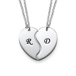 Brythjärta Halsband med initialer i Silver product photo