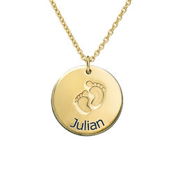 Personlig Namnplatta med din bebis första steg - Guldpläterat produktbilder
