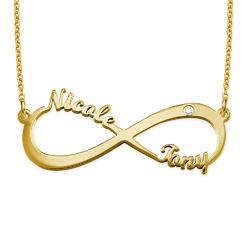 Infinity halsband med namn och diamant i guldplätering produktbilder