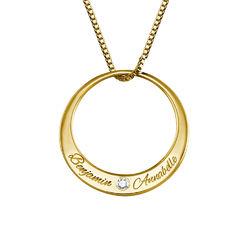 Diamanthalsband i guldplätering med cirkel produktbilder