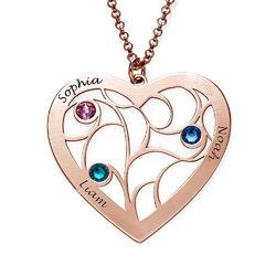Livets träd-halsband i form av ett hjärta i roséguldplätering och med produktbilder