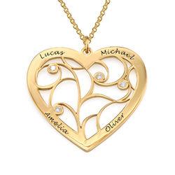 Hjärtaformat Livets Träd-Halsband med Diamanter i Guldplätering produktbilder