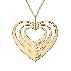 Familjehalsband med hjärta i Guld Vermeil produktbilder