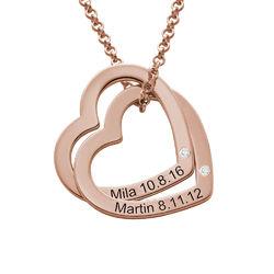 Diamant-Halsband med Sammanflätade Hjärtan i 18K Roseguldplätering produktbilder