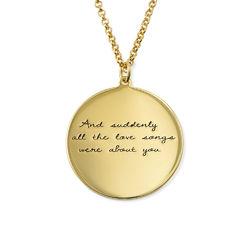 Medaljong med handskriftsgravyr i silver med guldplätering produktbilder