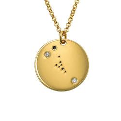 Oxens stjärnteckenhalsband med diamanter i guldplätering produktbilder