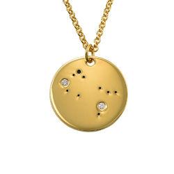 Tvillingarnas stjärnteckenhalsband med diamanter i guldplätering produktbilder