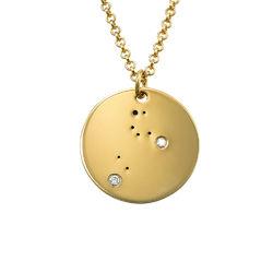 Lejonets stjärnteckenhalsband med diamanter i guldplätering produktbilder