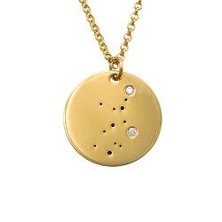 Junfruns stjärnteckenhalsband med diamanter i guldplätering produktbilder