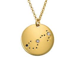 Skorpionens stjärnteckenhalsband med diamanter i guldplätering produktbilder