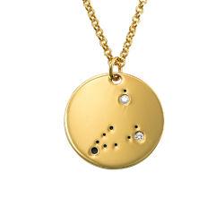 Stenbockens stjärnteckenhalsband med diamanter i guldplätering produktbilder
