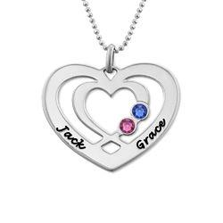 Hjärthalsband med Två Hjärtan och Månadsstenar i Silver produktbilder