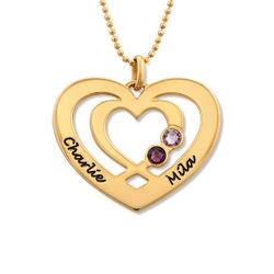 Hjärthalsband med Två Hjärtan och Månadsstenar i Guldplätering produktbilder