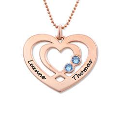 Hjärthalsband med Två Hjärtan och Månadsstenar i Roséguldplätering product photo