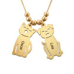 Graverat halsband med katt och hund berlock i guldpläterad produktbilder