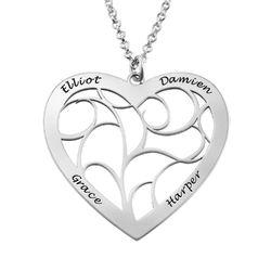 Hjärtformat livets träd-halsband i silver produktbilder