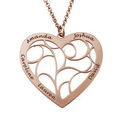 Hjärtformat livets träd-halsband i roséguldplätering produktbilder