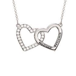Halsband med Två Hjärtan med Gravyr i Sterling Silver produktbilder
