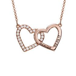 Halsband med Två Hjärtan med Gravyr i Roséguldplätering produktbilder