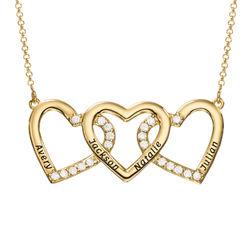 Halsband med Tre Hjärtan med Gravyr i Guldplätering produktbilder