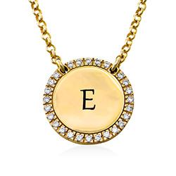 Personligt Cirkel Halsband med Cubic Zirconia i Guldplätering produktbilder