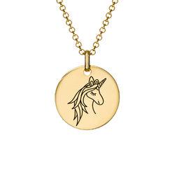 Enhörning Halsband med gravyr i Guldplätering produktbilder