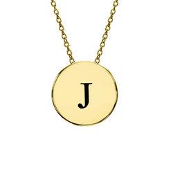 Bokstav Halsband med Cirkel i Guldplätering produktbilder