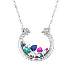 Öppen Cirkel Halsband med Stenar i Sterling Silver produktbilder