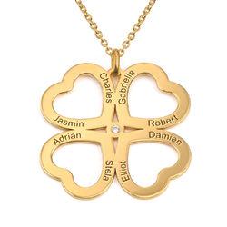 Fyrklöver Halsband med Hjärta i Guldplätering med Diamant produktbilder