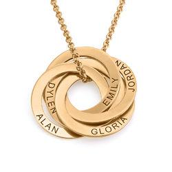 Ryskt ringhalsband med 5 ringar i guldplätering produktbilder