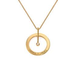 Personligt Cirkelhalsband med Diamant i 18K Guldplätering produktbilder