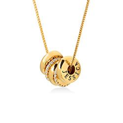 Personligt Halsband med Graverade Runda Plattor i Guld Vermeil produktbilder