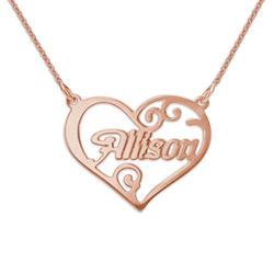 Personligt namn halsband med hjärta i rosèguldpläterat silver produktbilder