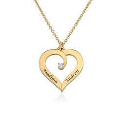 Personligt Hjärtformat Halsband med Diamant i 18K Guldplätering produktbilder