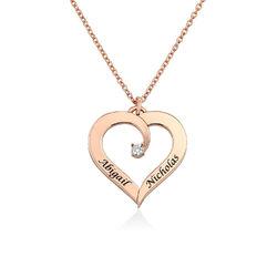Personligt Hjärtformat Halsband med Diamant i 18K Roséguldplätering produktbilder