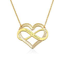 Halsband med Hjärta och Infinity-Symbol i 18k Guldplätering produktbilder