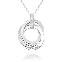 Personligt Halsband med Ryska Ringar och Månadsstenar i Sterling produktbilder