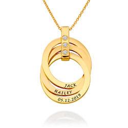 Personligt Halsband med Ryska Ringar och Månadsstenar i Guldplätering produktbilder