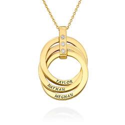 Personligt Halsband med Ryska Ringar och Diamanter i Guldplätering produktbilder