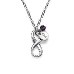 Tvinnad infinity halsband med bokstav och månadssten i Silver product photo