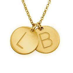 Berlockhalsband i guld vermeil med initialer produktbilder