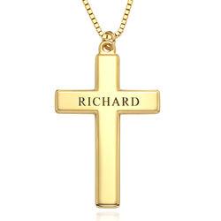 Halsband med graverat kors för män i 18k guldplätering produktbilder