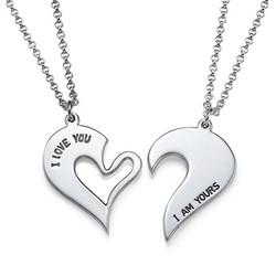Brytbart Hjärt Halsband för Par i Silver produktbilder