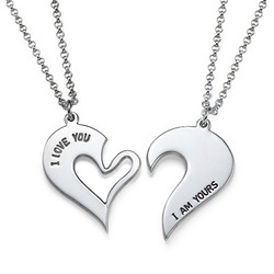 Brytbart Hjärt Halsband för Par i Silver product photo