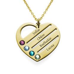 Månadsstenhalsband med graverade namn på hjärta - Guld Vermeil produktbilder